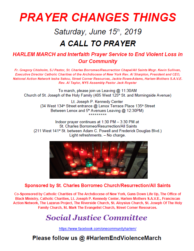 Join us for A Call for Prayer: Anti Violence March on Sat